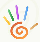 Spiraalvormige hand met vingers stock illustratie