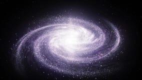 Spiraalvormige melkachtige maniermelkweg die die in ruimte roteren met sterren en nebulas wordt gevuld royalty-vrije illustratie