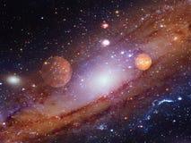 Spiraalvormige melkweg met planeten stock illustratie