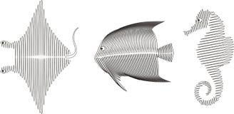 Spiraalvormige vissen, vector stock illustratie