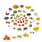 Spiraalvormige voedselachtergrond Stock Foto's