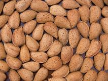 Spiral almonds. Almond composition forming a spiral from above royalty free stock photo