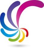 Spiral av droppar i färg, målare och färglogo Fotografering för Bildbyråer