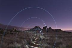 Spiral av ljus på kullen Arkivbilder