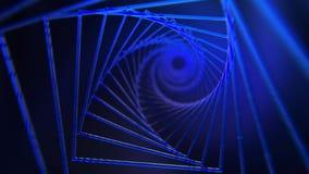 Spiral bakgrund av blått kvadrerar med glödeffekten arkivfilmer