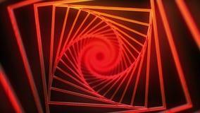 spiral bakgrund av röda fyrkanter med glödeffekten stock video