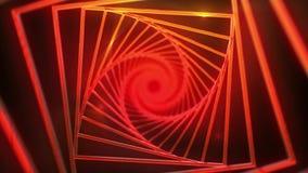 spiral bakgrund av röda fyrkanter och ljusa strålar stock video