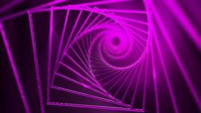 Spiral bakgrund av rosa färger kvadrerar med ljusa strålar stock video