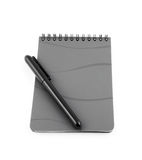 Spiral bound note pad and pen isolated. On white Royalty Free Stock Images