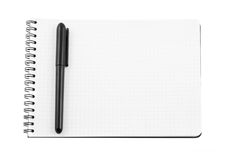 Spiral bound note pad and pen isolated. On white Stock Photos