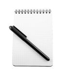 Spiral bound note pad and pen isolated Stock Photos