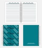 Spiral bound notebook mock-up design - spread, front and back co. Notebook design: spread, front and back cover. Spiral bound notepad mockup. Silver metal spring stock illustration