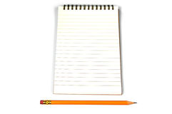 Blank lined paper and a pencil Royalty Free Stock Images