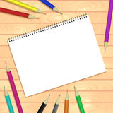 Spiral bound notepads and pen. Vector template or mock up. Easy to place your image on the cover.Top view stock illustration