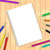 Spiral bound notepads and pen. Vector template or mock up. Easy to place your image on the cover.Top view Stock Photos