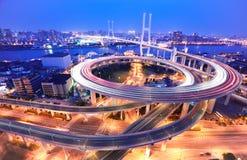 Spiral bridge in Shanghai Huangpu River on the bird's eye view o Stock Images
