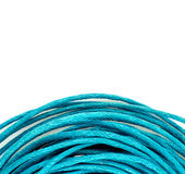 Spiral bright blue string rope background texture Stock Image
