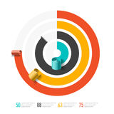 Spiral business chart template, infographics element. Illustration Stock Photo