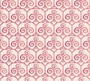 Spiral byracka för elegant sömlös botanisk trädgårdtrefoil för kinesisk stil royaltyfri illustrationer
