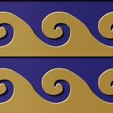Spiral c för guld för modell för sömlös lättnadsskulpturgarnering retro royaltyfri illustrationer