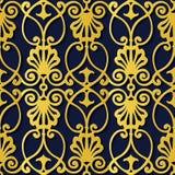 Spiral c för guld för modell för sömlös lättnadsskulpturgarnering retro stock illustrationer