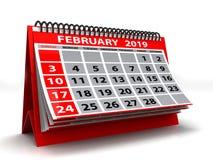 Spiral Calendar February 2019. February 2019 Calendar In White Background. 3D Illustration Royalty Free Stock Image