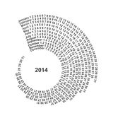 Spiral Calendar 2014. Spiral number Royalty Free Stock Photography