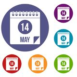 Spiral calendar page 14th of May icons set. Spiral calendar page, 14th of May icons set in flat circle red, blue and green color for web Royalty Free Stock Image