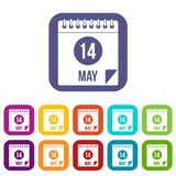 Spiral calendar page 14th of May icons set flat. Spiral calendar page, 14th of May icons set vector illustration in flat style In colors red, blue, green and Stock Image
