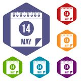 Spiral calendar page 14th of May icons set hexagon. Spiral calendar page, 14th of May icons set hexagon isolated vector illustration Stock Photography