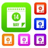 Spiral calendar page 14th of May set color collection. Spiral calendar page, 14th of May set icon color in flat style isolated on white. Collection sings vector Royalty Free Stock Image