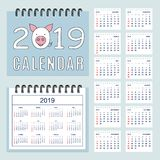 Spiral calendar 2019 with pig muzzle and set of pages 12-month. American calendar for desk or wall 2019 year. Set of the 12-month isolated pages. English vector illustration