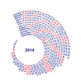 Spiral Calendar 2014 spiral number date time ring shell. White background year Stock Image