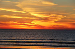 Spiral California Pacific Sunset. Interesting cloud features create a gorgeous California Pacific Sunset Stock Photo