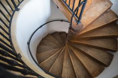 Spiral castle stairs made by wood.  Royalty Free Stock Photography