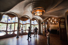 Spiral at the Ceiling Casa Batlo Barcelona Spain stock image