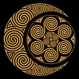 Spiral Celtic Moon and Celtc Sun Royalty Free Stock Image