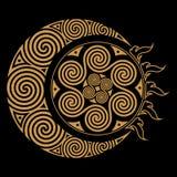 Spiral Celtic Moon and Celtc Sun Stock Photos