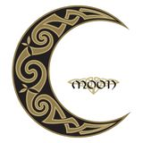 Spiral Celtic Moon, horned moon design Royalty Free Stock Photos