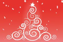 Spiral christmas tree with red background Royalty Free Stock Image