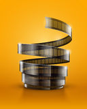 Spiral of cinematography film tape. Eps10  illustration on orange background Stock Photography