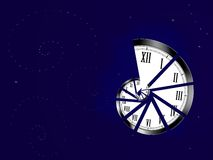 Spiral clock. Representing infinity on blue background with stars Stock Photo