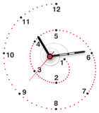 Spiral clock. Imaginary spiral clock to symbolize relativity of time Stock Photo