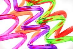 Spiral color plastic straws Stock Photos