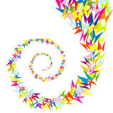 Spiral of colored butterflies. Abstract spiral of colored stylised butterflies stock illustration