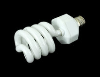 Spiral compact fluorescent light bulb Royalty Free Stock Images