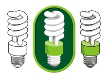 Spiral compact fluorescent light bulb Stock Photography