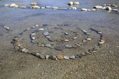 Spiral of composite stones in water, esoteric stones,. Spiral of composite stones in water, on shore of lake como, esoteric stock photo