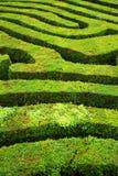 A spiral confusing hedgerow spiral maze. Several paths leading through a confusing spiral hedgerow maze stock photos