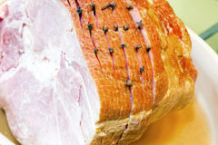 Spiral Cut Ham with Cloves Closeup Stock Photo